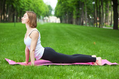 Young woman is stretching in the park. Royalty Free Stock Photos