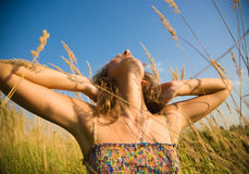 Young woman stretching up in a summer field Royalty Free Stock Photos