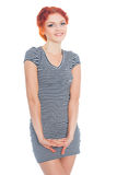Young woman in a striped dress Stock Photos