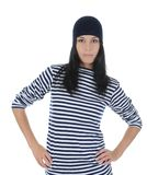 Young woman in stripped t-short Royalty Free Stock Photos