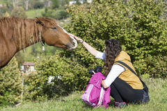 Young woman stroking a beautiful  red wild horse Royalty Free Stock Photos