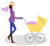 Young woman with stroller stock illustration