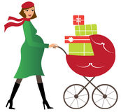Young woman with stroller Royalty Free Stock Images