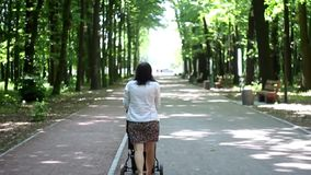 Young woman with stroller walking in the woods stock video footage