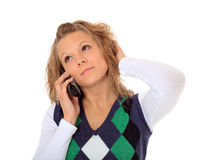 Young woman is stuck on hold Royalty Free Stock Photos