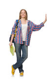 Young woman student with backpack isolated Royalty Free Stock Image