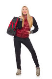 Young woman student with backpack isolated Royalty Free Stock Photo