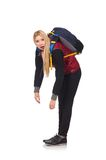 Young woman student with backpack. Isolated on white Stock Photo