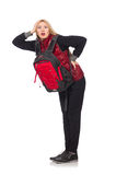 Young woman student with backpack. Isolated on white Royalty Free Stock Photos