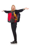 Young woman student with backpack. Isolated on white Royalty Free Stock Images