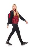 Young woman student with backpack isolated on the Royalty Free Stock Photography