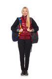 Young woman student with backpack isolated on Royalty Free Stock Images