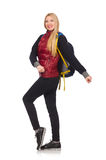 Young woman student with backpack isolated on Stock Image