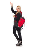 Young woman student with backpack isolated on Royalty Free Stock Photos