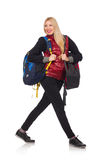 Young woman student with backpack isolated on Royalty Free Stock Photography