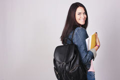 Young woman student going to school royalty free stock images