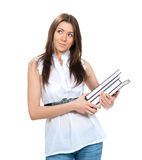 Young woman student hold books for college homework Royalty Free Stock Image
