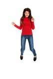 Young woman student jumping. Royalty Free Stock Images