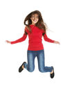 Young woman student jumping. Royalty Free Stock Image