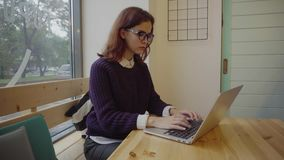 Young woman student with modern laptop sitting in cafe stock footage