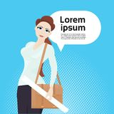 Young Woman Student Or Office Worker In Elegant Clothes Over Copy Space Background. Flat Vector Illustration Stock Images
