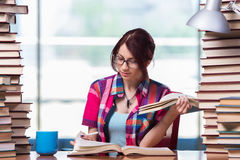The young woman student preparing for college exams Royalty Free Stock Photography