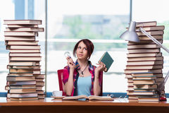 The young woman student preparing for college exams Stock Photos