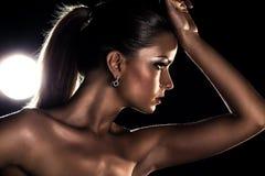 Young woman studio fashion portrait stock images