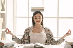 Young woman study at home alone education Stock Photo