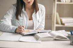 Young woman study at home alone education Stock Image