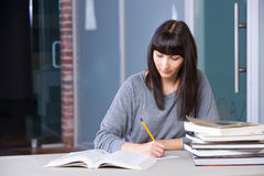 Young Woman Studying Stock Photo
