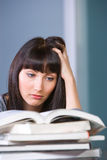 Young woman studying. In a modern classroom Stock Image