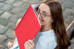 Young woman studying in the city Stock Photos