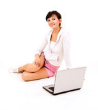 Young woman studying with the laptop Royalty Free Stock Images