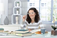 Young woman studying in morning Royalty Free Stock Images