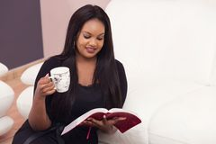 Happy Bible Study Devotional Time. Young Woman Studying the Word Of God in the Morning Stock Photos