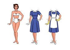 A young woman in the style of 40-50`s is dressed in an apron and gloves. Set of  illustration of a beautiful woman in underwear standing in front. A pretty Royalty Free Stock Photos