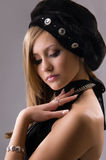 Young woman in a stylish hat Royalty Free Stock Photos