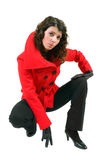 Young woman in stylish red coat Stock Photo