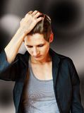 Young woman with stylish short hair and black blouse Royalty Free Stock Photo