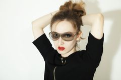 Young woman in stylish sunglasses Royalty Free Stock Photography