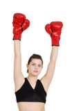 Young woman successful boxer Royalty Free Stock Images