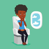Young woman suffering from fear of flying. Airplane passenger shocked by plane flight in a turbulent area. Airplane passenger frightened by flight. Terrified royalty free illustration