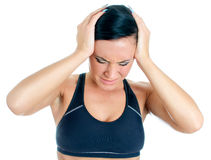 Young woman suffering from headache. Stock Photo