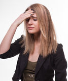 Young woman suffering from headache Stock Images
