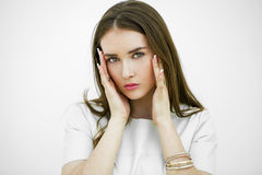 Young woman suffering of the pain Stock Images