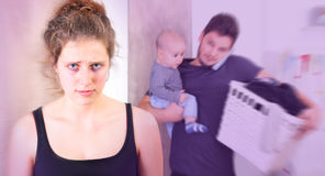 Young woman suffering from postpartum depression stock photos