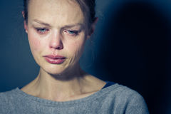 Young woman suffering from severe depression/anxiety/sadness stock photo