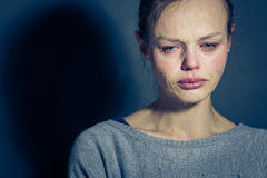 Young woman suffering from severe depression/anxiety/sadness Royalty Free Stock Photography