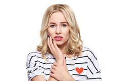Young Woman Suffering From Toothache. Tooth Pain And Dentistry background. Beautiful Young Woman Suffering From Teeth Pain. Young Woman Suffering From Toothache royalty free stock image